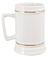 22 oz. Beer Stein - White - Rectangle Handle with Gold Trim