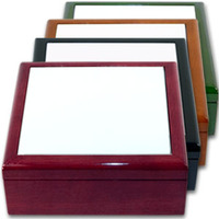 "6"" x 6"" Jewelry Box with Sublimation Photo Tile Lid Insert"